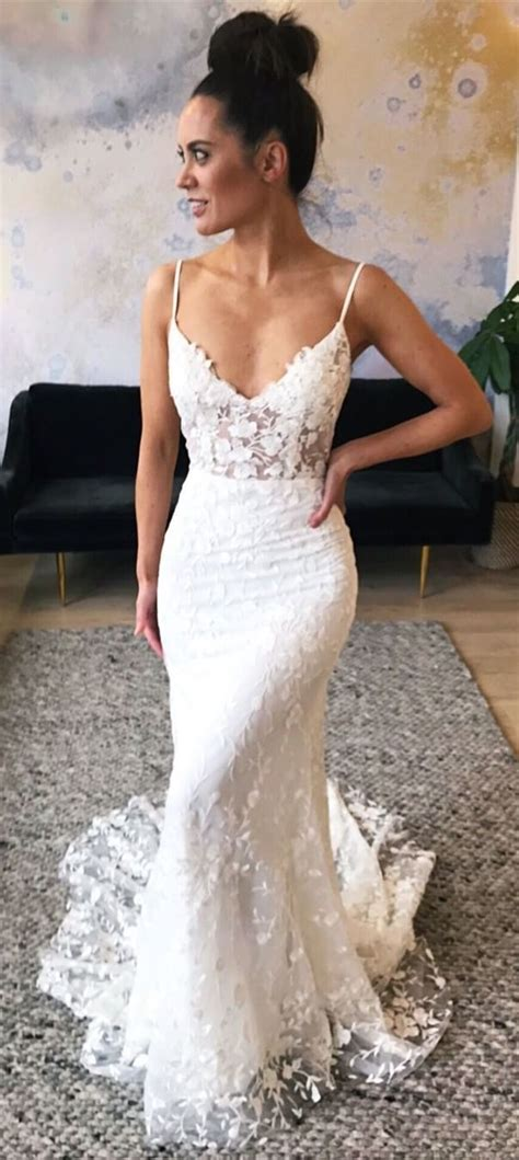 mermaid spaghetti straps sweep train lace wedding dress