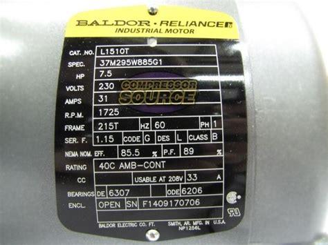 7 5hp single phase baldor electric compressor motor 215t frame l1510t 230 volt 685650062136 ebay