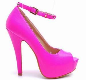 Neon pink high heels