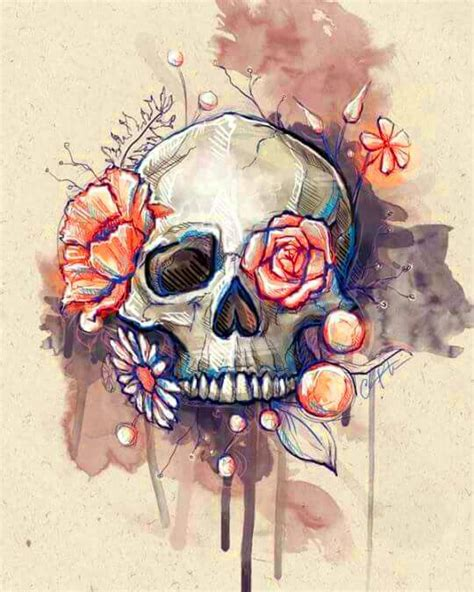 Water Color Floral Skull Diamond Painting Kits Oloee