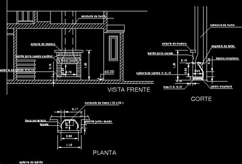 bricks wood stove fireplace dwg section  autocad