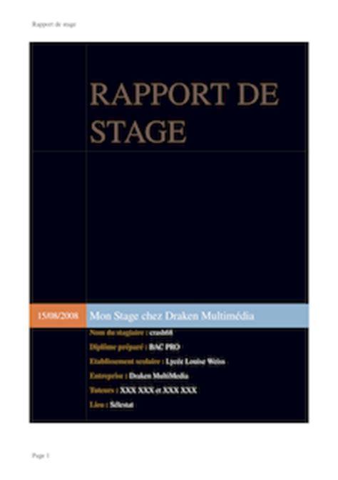 rapport de stage cuisine rapport de stage pdf exemple page de garde ou pdf sur