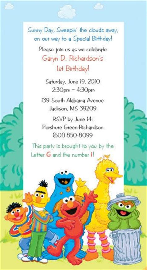 sesame invitations template 80 best images about birthday ideas sesame on sesame streets