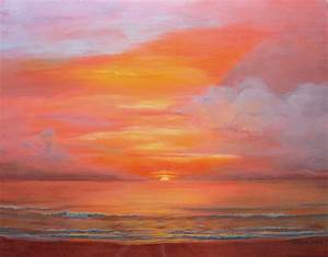 Atlantic Sunrise On Copper Painting by Michael Baum
