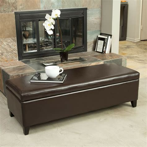 Living Storage Bench by Living Room Furniture Brown Leather Storage Ottoman Bench