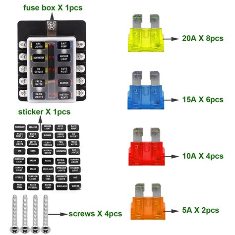 10-way Blade Fuse Box Block Holder Led Indicator For 12v
