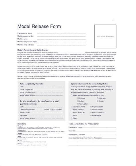 Standard Model Release Form Template by 9 Sle Model Release Forms Sle Templates