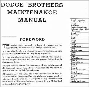 1934 Dodge Car Repair Shop Manual Original
