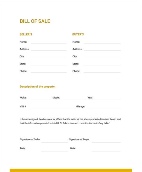 bill  sale template   word excel
