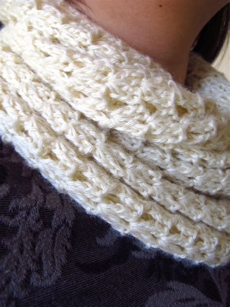 winter white crocheted infinity scarf
