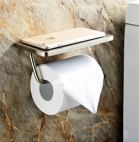toilet paper holder  shelf brushed stainless steel