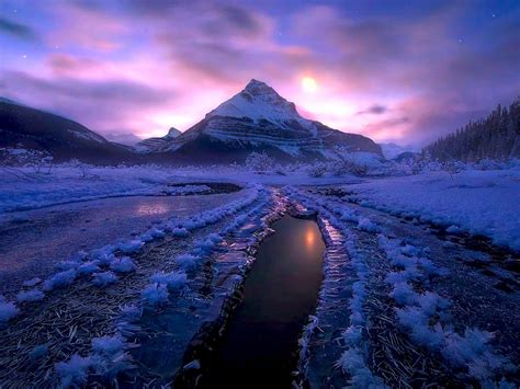 winter night ice cold jasper national park canada desktop