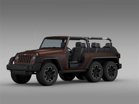 jeep cars inside jeep wrangler rubicon 6x6 2016 3d model max obj 3ds