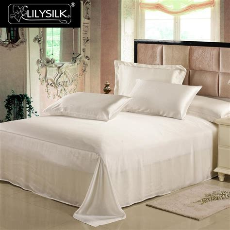 lilysilk silk flat sheet natural mulberry 19mm black white seamless pure solid color king queen
