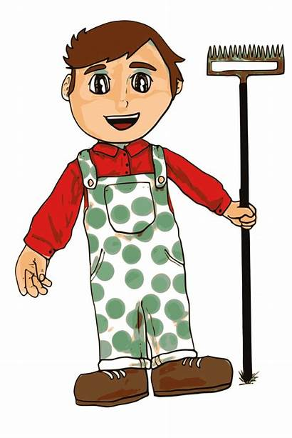 Farmer Boy Cartoon Clipart Cliparts Clip Farming