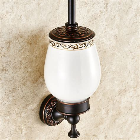 Bathroom Toilet Brush Holder European Antique Bathroom Accessories Copper Engraving Toilet