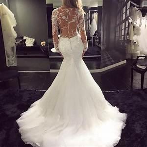 Sexy see through long sleeves v neck mermaid fishtail for Fishtail wedding dress