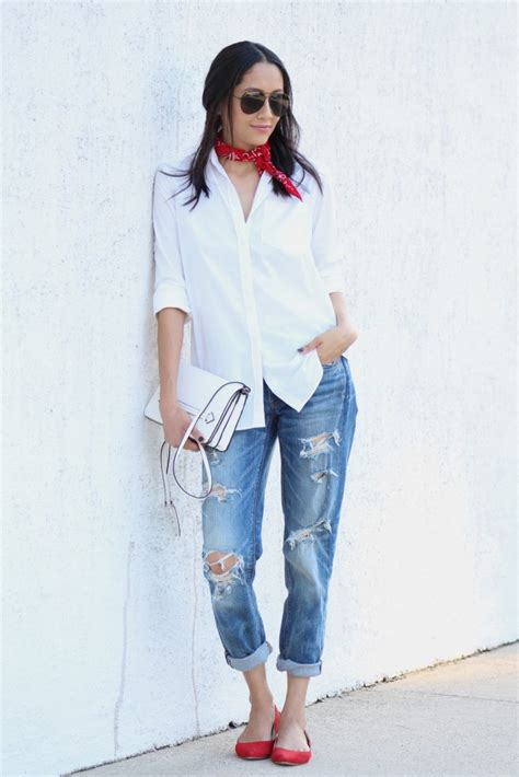 Boyfriend Jeans White Shirt u0026 Red Accents - Daily Craving