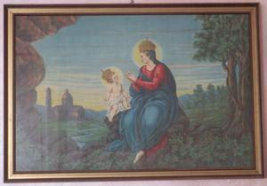 Madonna Della Ghiaia - quadro con gatto dipinto su legno posot class
