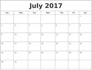August Printable Calendar July 2017
