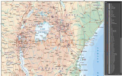 digital vector tanzania map political road rail map