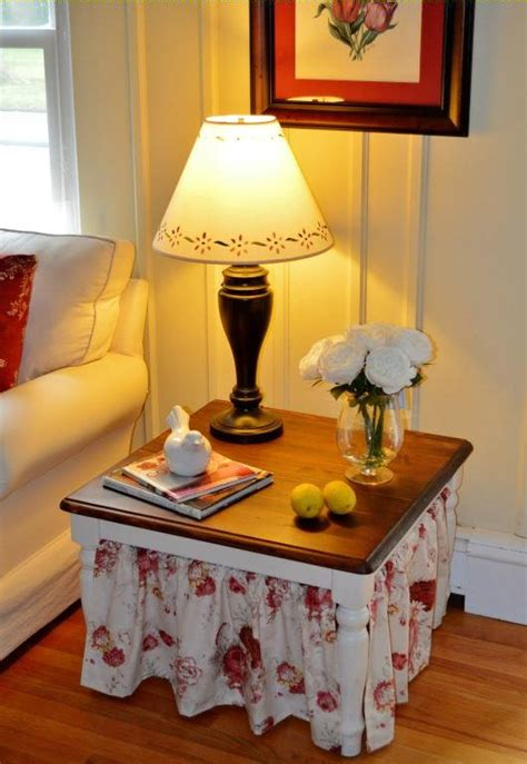 easy side table skirting tutorial favecraftscom