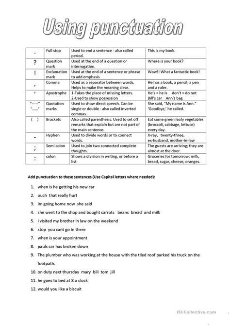 punctuation worksheet  esl printable worksheets