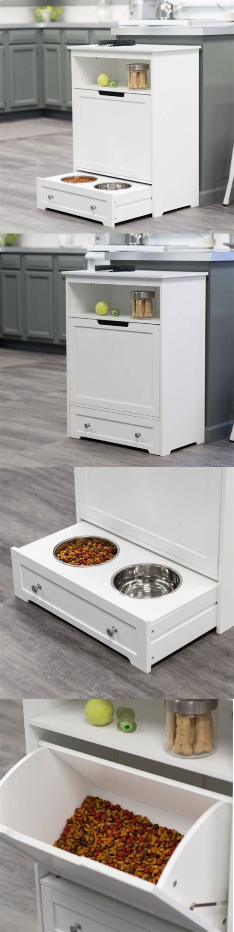 mais cuisine pet food storage cabinet with bowls slide in drawer hooks
