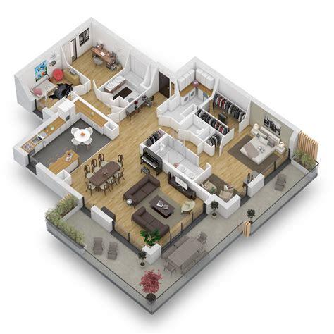 plan 3d chambre plan maison 4 chambres 130m2