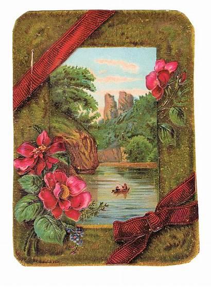 Victorian Clip Card Clipart Ribbon Painting Lake