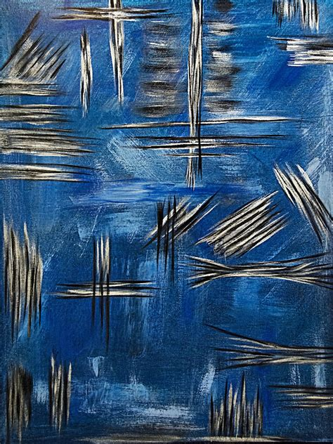 Abstract Black And Blue Painting by Silver Blue Black Metallic Abstract Painting Painting By