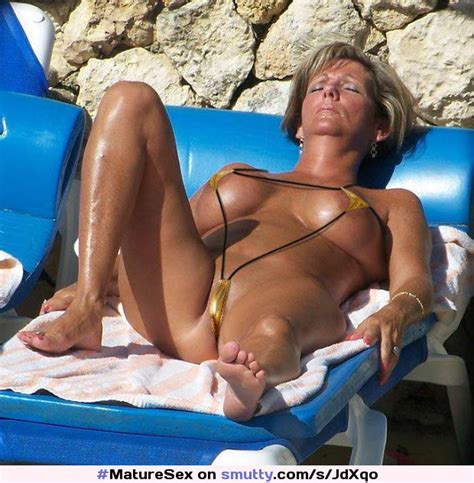 Sexy Mature Pussy And Camel Toe In String Micro Bikini