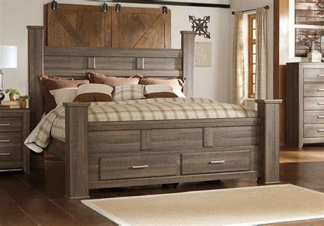 juararo dark brown poster storage king bedroom set