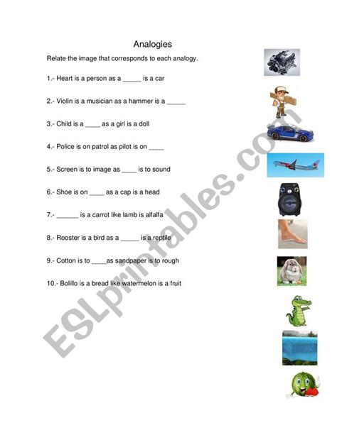 analogies  images esl worksheet  saul