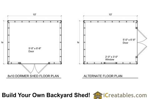Shed Floor Plans by 8x10 Shed Plans With Dormer Icreatables