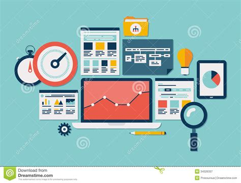 Website Seo And Analytics Icons Stock Vector