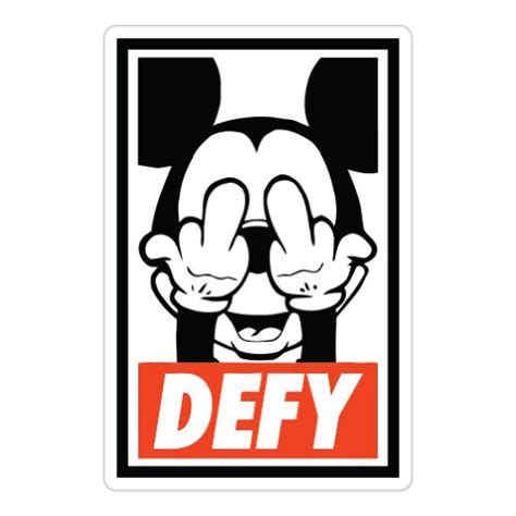 mickey obey defy mickey mouse obey car sticker decal phone