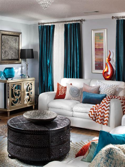 Teal And Orange Living Room Decor by Gray Living Room Eustache Garner Hgtv