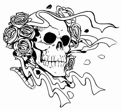 Coloring Scary Pages Skull Roses Horror Adult