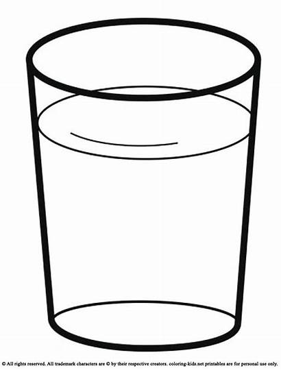 Glass Coloring Water Pages Drinks Clipart Cup