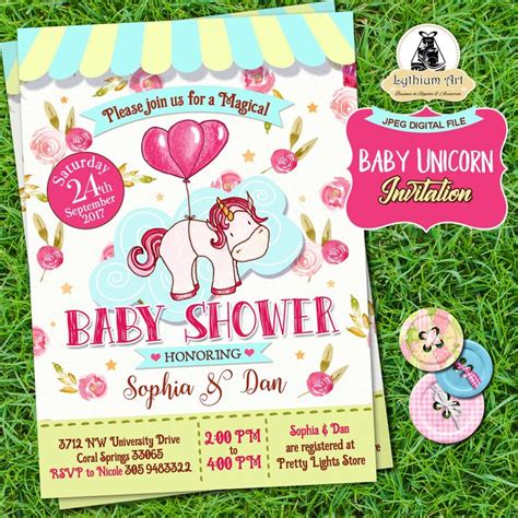 unicorn baby shower invitation back design thank you tags unicorn party invitation