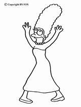 Marge Coloring Dancing Simpson Simpsons Hellokids sketch template