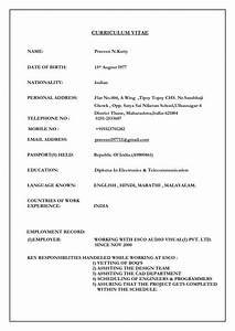 Lebenslauf Sample Marriage Resume Format For Girl Free Download Cv Format