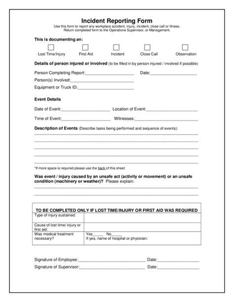 incident form pdf free printable incident reports staruptalent