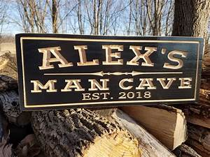 Man, Cave, Personalized, Wooden, Sign, Father, U0026, 39, S, Day, Gift, Game