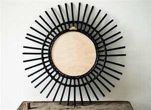 Miroir Rotin Noir : miroir soleil en rotin noir mes petites puces ~ Melissatoandfro.com Idées de Décoration