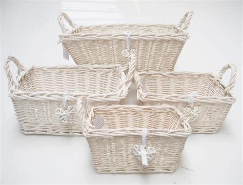 shabby chic baskets rectangle white french shabby chic wicker kitchen crafts bathroom storage basket ebay