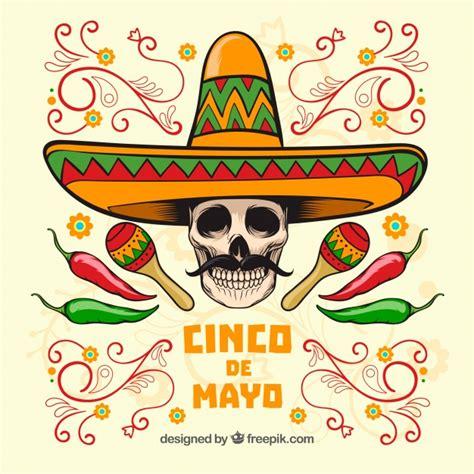 cinco de mayo skull background  mexican hat  vector