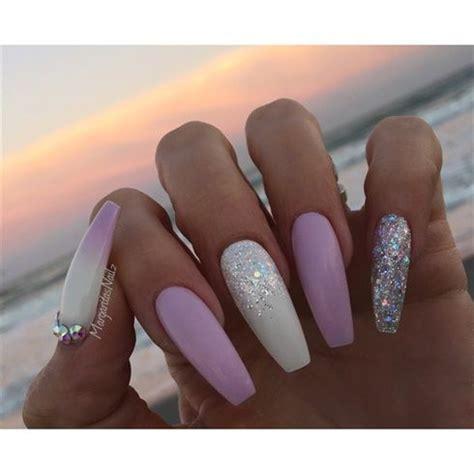 60 Glitter Nail Art Designs Art And Design White And Lavender Coffin Nails By Margaritasnailz Margaritasnailz Pinterest The Shape