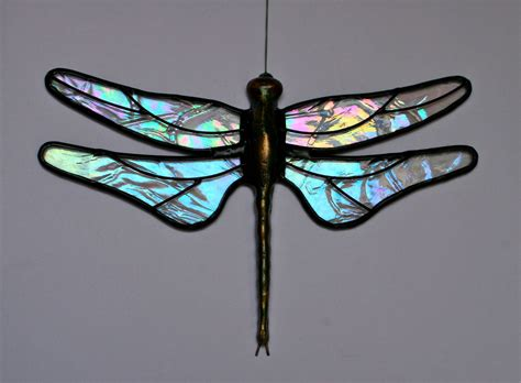 dragonfly stained glass l stained glass dragonfly suncatcher clear by stainedglasswhimsy